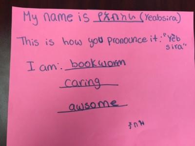 Yeabsira G. writes her name in English and Amaharic.