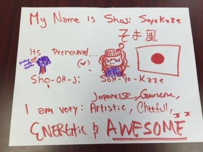 Shoji A.'s colorful description of who she is.